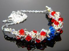"""""""Spangly Outfit"""" The Avengers Captain America Inspired Crystal Necklace by WhimsyBeading, $35.00"""