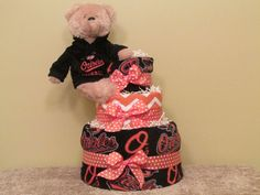 Baltimore Orioles Sports Team Diaper Cake  Medium  by CaringCakes, $57.00