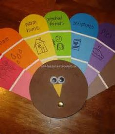 Thanksgiving Crafts - Bing Images  Using paint chips!!!