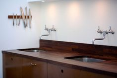 Stained butcher block counter for the master bathroom?