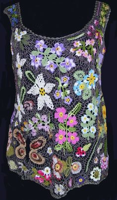 Colorful floral Irish lace crochet