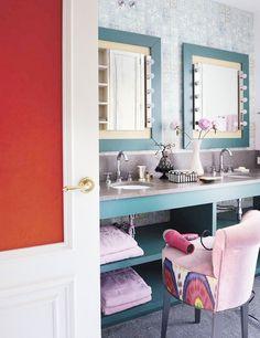Tour a Sophisticated and Chic Spanish Home//feminine bathroom, vanity, vanity stool