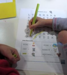 word searches for the 3 to 4 year old -- great blog overall for early literacy, etc.