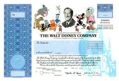Walt Disney common stock certificate