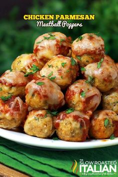 Chicken Parmesan Meatballs; tender and delicious. From theslowroasteditalian.com #recipe