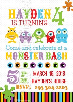 MONSTER BASH party invitation  YOU Print by PrettyPartyCreations, $11.50