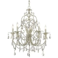 Chateau Vieux Collection Antique Cream Five Light Chandelier - #15909 | LampsPlus.com