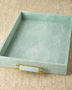 Green Shagreen Tray by AERIN