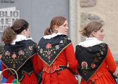 Some examples of the shawl embroidery on the upper Engadin Costume.