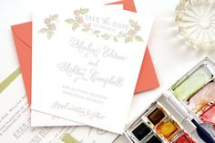 DIY Tutorial: Watercolor Hand Tinted Save the Dates by Antiquaria via Oh So Beautiful Paper: http://ohsobeautifulpaper.com/2014/03/diy-tutorial-hand-tinted-letterpress-save-dates/ #weddings #diy #tutorials #watercolor