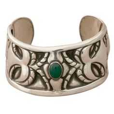 GEORG JENSEN Unique Cuff Bracelet With Chrysophrase   From a unique collection of vintage cuff bracelets at http://www.1stdibs.com/jewelry/bracelets/cuff-bracelets/