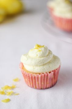 These Lemon Cupcakes with Whipped Buttercream will taste like a sweet, cloudy dream! Lemon zest is added for garnish and adds a delicious pop of flavor to these cupcakes!