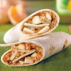 Peanut butter, apple, and granola tortilla wrap!