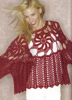 Crochetemoda: Blusa Vermelha de Crochet