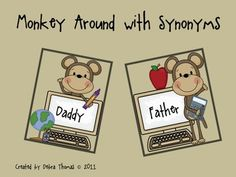 Make cute flash cards for kiddos to learn synonyms