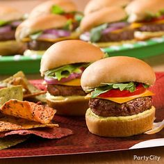 Your guests will feel like they're at a tailgate party when they get a taste of these bite-size burgers. football party foods, burger, superbowl, bite, football parties, footbal parti, parti food, tailgate parties, mini slider