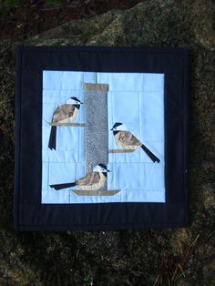 Ideal gift for the bird watcher on your list! Chickadee's at the Bird Feeder Wall Art by Jackiesewingstudio, $42.00