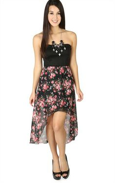 Deb Shops Strapless High Low #Dress with Chiffon #Floral Skirt $24.67