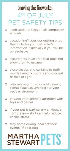 These simple tips can help prepare you and your pet for 4th of July festivities. Full article on @ms_living . #MarthaStewartPets #petcare #pettips