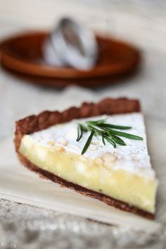 white chocolate tart with rosemary