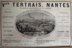 Nantes. Publicité Victor Tertrais pour la fabrication des conserves et salaisons de porc. 1882.