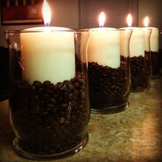 cheap diy candles, cheap apartment decor ideas, kitchen tables, apartment decor cheap, coffee beans and candles, scented candles, table centerpieces, mason jars, diy coffee candle