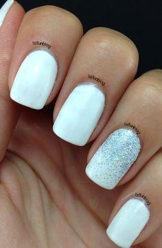 White Summer Gelish Manicure