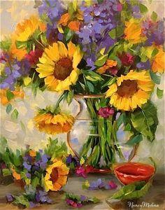 Good Day Sunshine Sunflowers and Dallas Arboretum Blooms by Texas Artist Nancy Medina, painting by artist Nancy Medina
