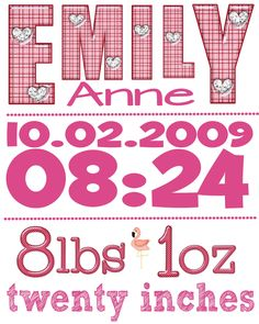 Birth announcement subway art - baby girl - you print. $10.00, via Etsy.