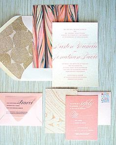 Pink, gold, and navy wedding invitations