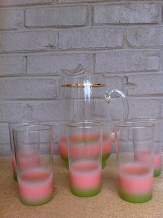 Lemonade set Blendo Vintage pitcher glasses