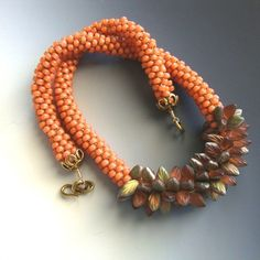 SalmonMango Silver Lined Kumihimo Braided by CalliopeAZCreations, $59.00