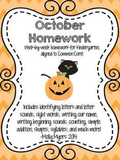 Kindergarten Homework Packet - October - Aligned to CC