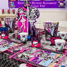 Create a wicked-cool party room like this by starting with Monster High decorations.