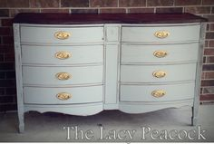Gray Blue Bow Front Dresser / Buffet / Console with Gold Knobs and Wood Top. $399.00, via Etsy.