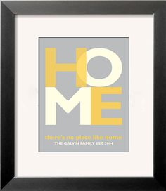 There's No Place Like Home  Customized Personalized Typographic Art Print for Wedding, Housewarming, New Home, Gift