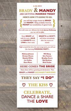 Printable DIY Wedding Program  Casual & Fun by DewDropDesignco, $35.00