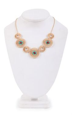 Short Statement Necklace with Textured Circle Design