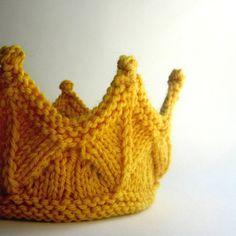 Yellow Lace Knit Crown. $24.00, via Etsy.