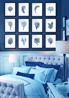 Vintage Blue Sea Fan Coral Prints Set of 12 wall hanging beach house