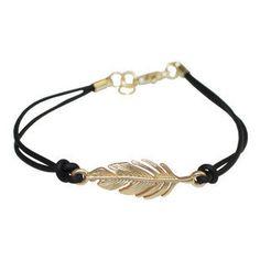 Gold feathers hand-woven bracelets, black  bracelet. $3.00, via Etsy.