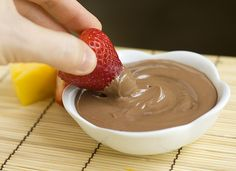 Nutella Yogurt Fruit Dip  Makes 10 servings  1 cup plain, nonfat Greek yogurt  1/2 cup Nutella  Mix the yogurt and Nutella together in a small bowl until completely combined. Refrigerate until ready to use. Serve with fresh cut fruit.