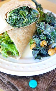 Kale Caesar Salad Wraps | tomatoboots.co | #healthy #creamy #crunchy #vegetarian