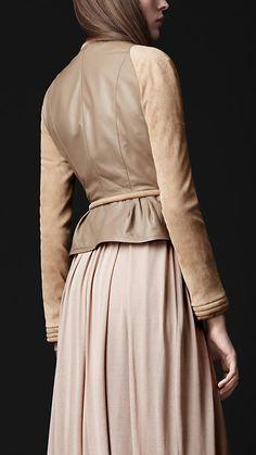 Burberry + peplum leather jacket
