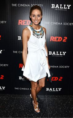 Olivia Palermo in a white tie dress with blue statement necklace via @WhoWhatWear