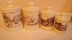 Kromex Nesting Canister Set Currier and Ives Seasons by CraftySara, $48.00