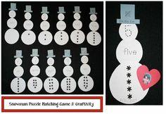 snowman activities, snowman crafts, alphabet activities, alphabet games, number games, math activities, math centers, math games, small medi...