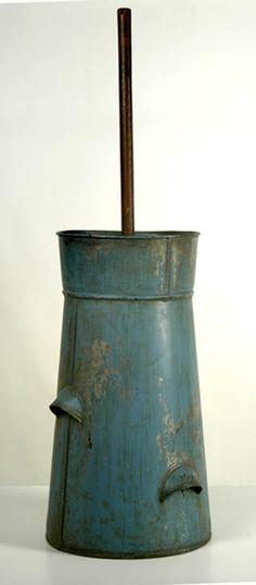 C1860 blue tin butter churn.
