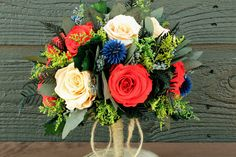 Navy Blue and coral Wedding Color Schemes | Champagne and Coral Rose Bouquet Preserved by SmokyMtnWoodcrafts