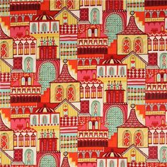 white Alexander Henry fabric with russian village
